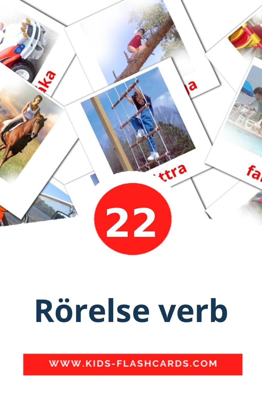 22 Rörelse verb Picture Cards for Kindergarden in swedish