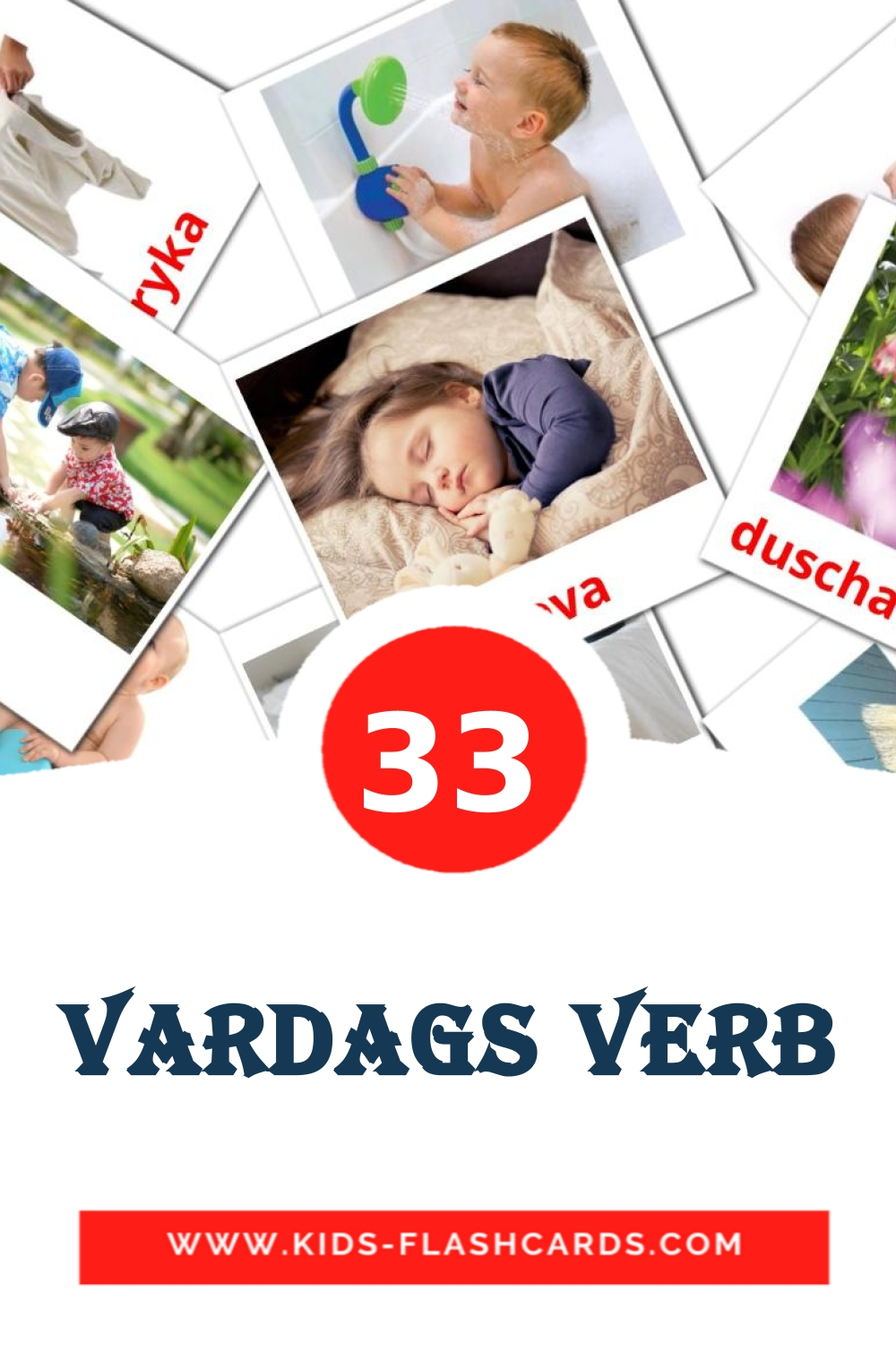 33 Vardags verb Picture Cards for Kindergarden in swedish