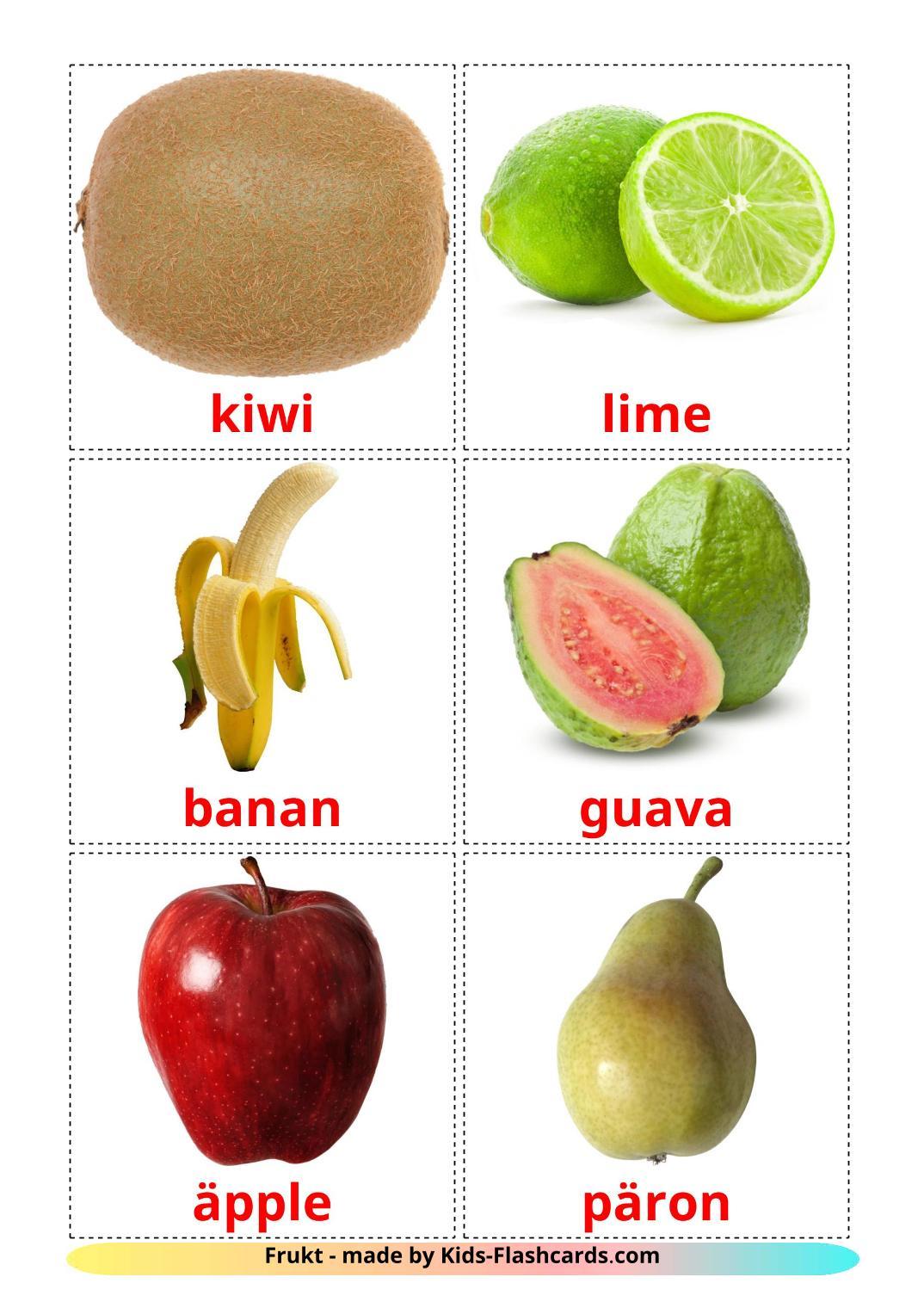 Fruits - 20 Free Printable swedish Flashcards
