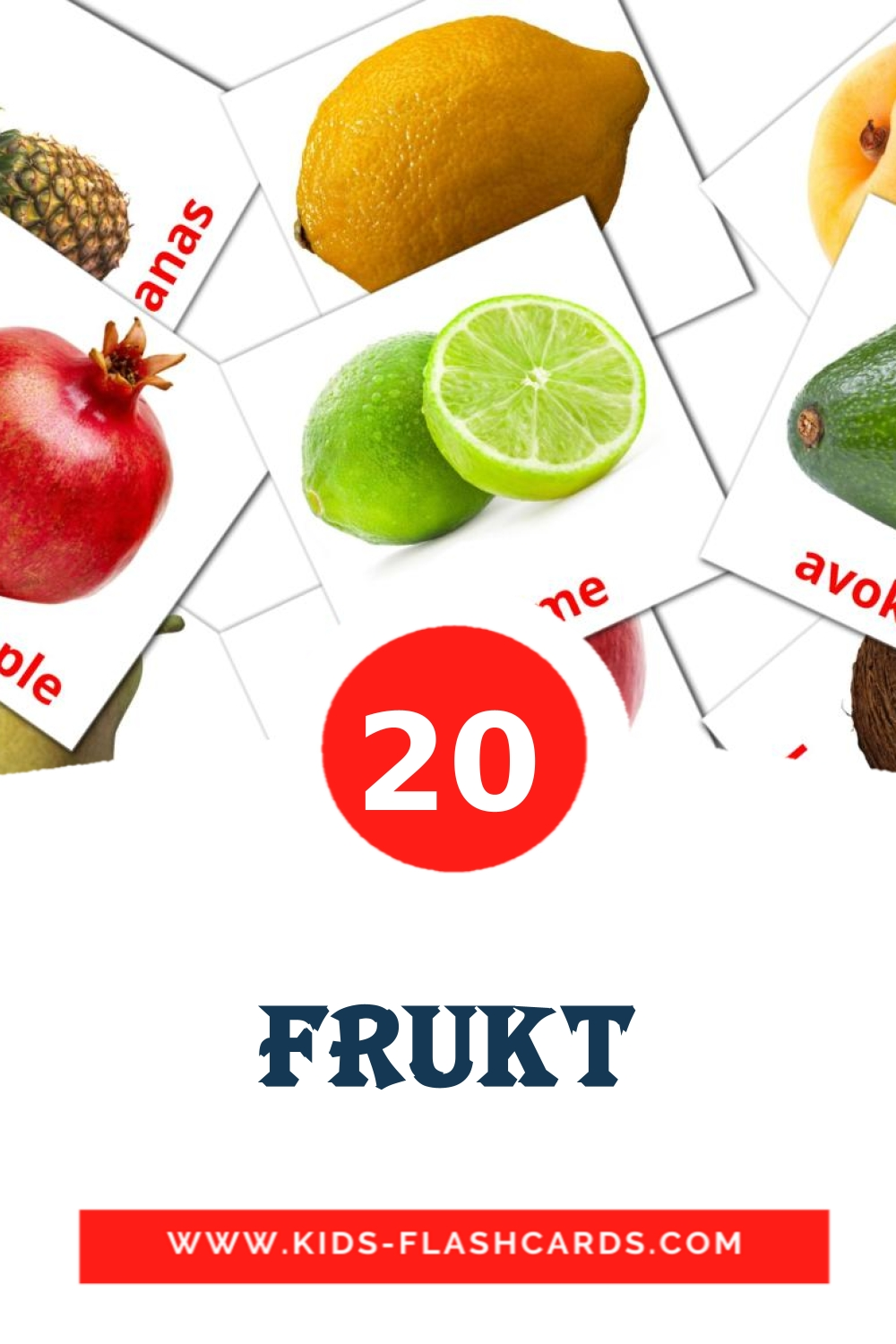 20 Frukt Picture Cards for Kindergarden in swedish