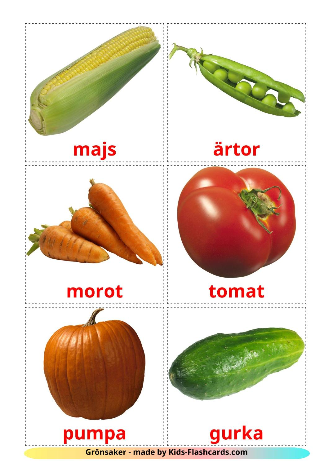 Vegetables - 29 Free Printable swedish Flashcards
