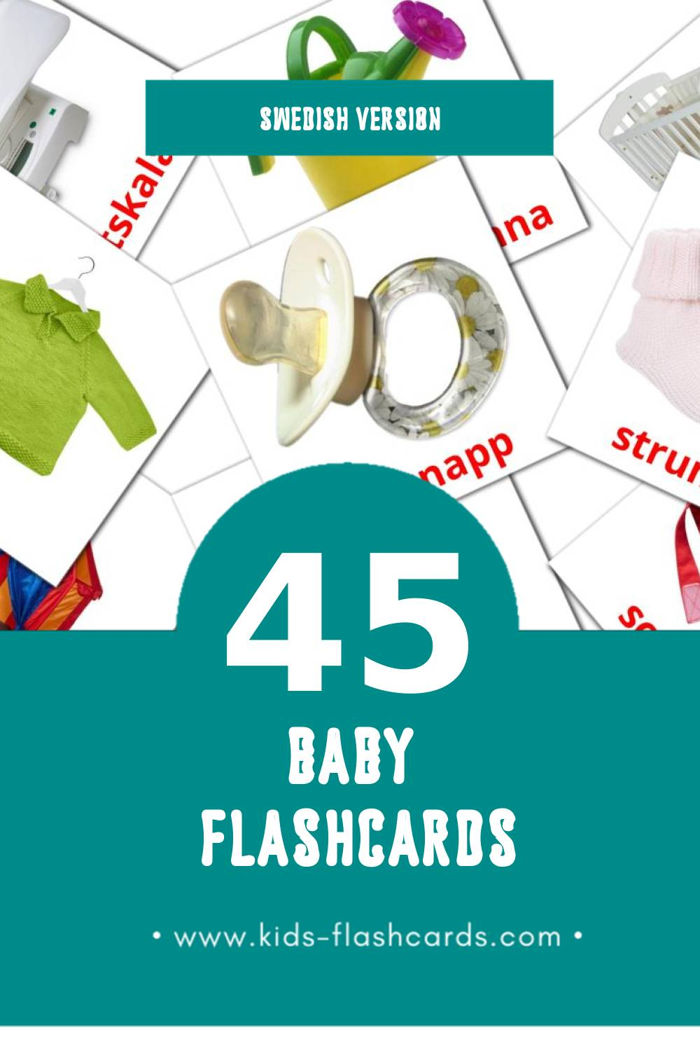 Visual Bebis Flashcards for Toddlers (45 cards in Swedish)