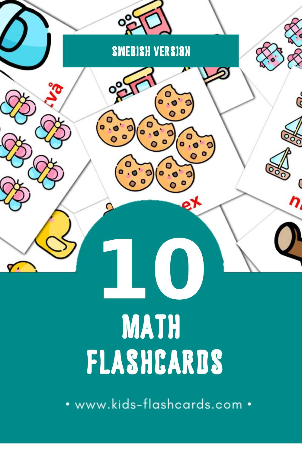 Visual Matematik Flashcards for Toddlers (10 cards in Swedish)