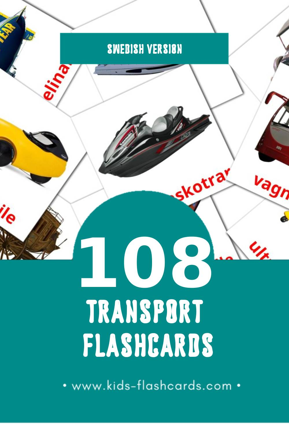 Visual Transport Flashcards for Toddlers (42 cards in Swedish)