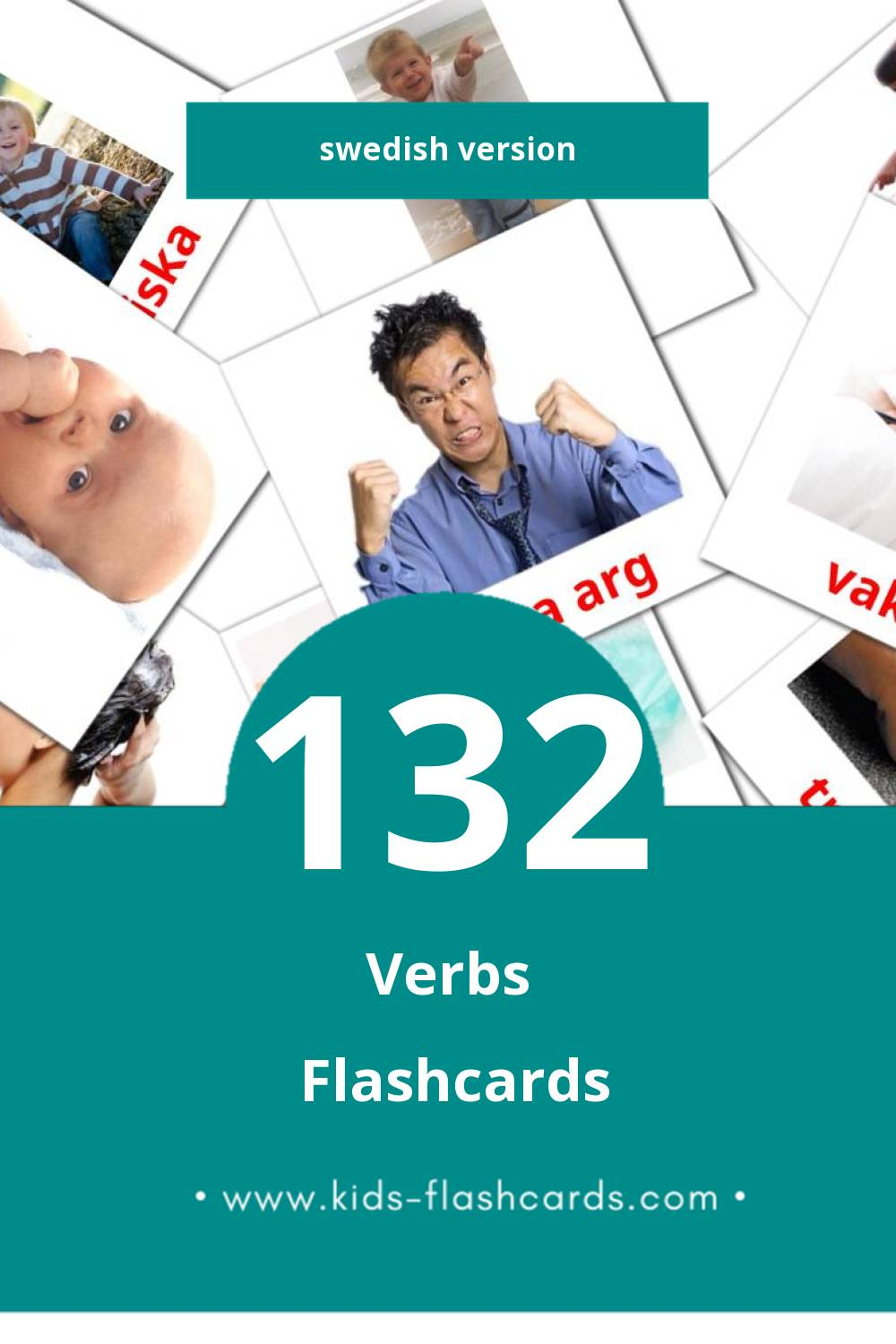 Visual Verb Flashcards for Toddlers (133 cards in Swedish)