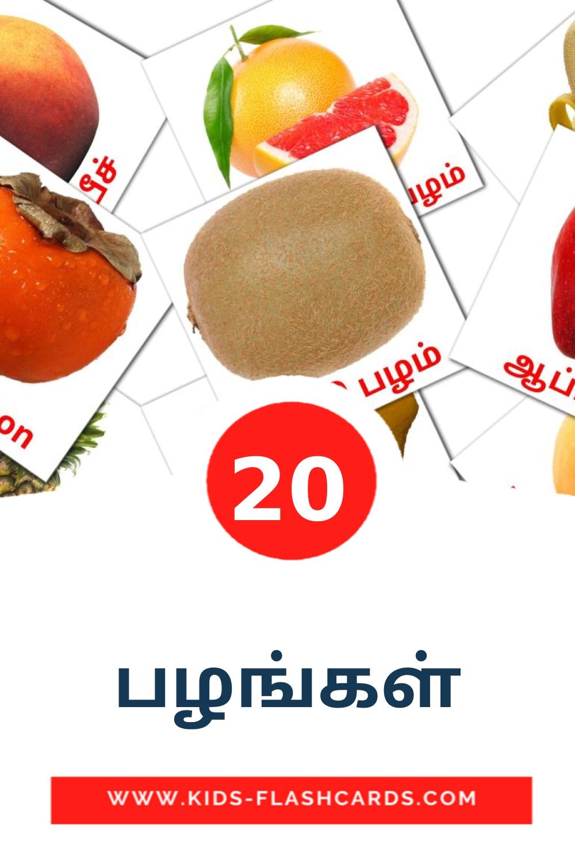 20 பழங்கள் Picture Cards for Kindergarden in tamil