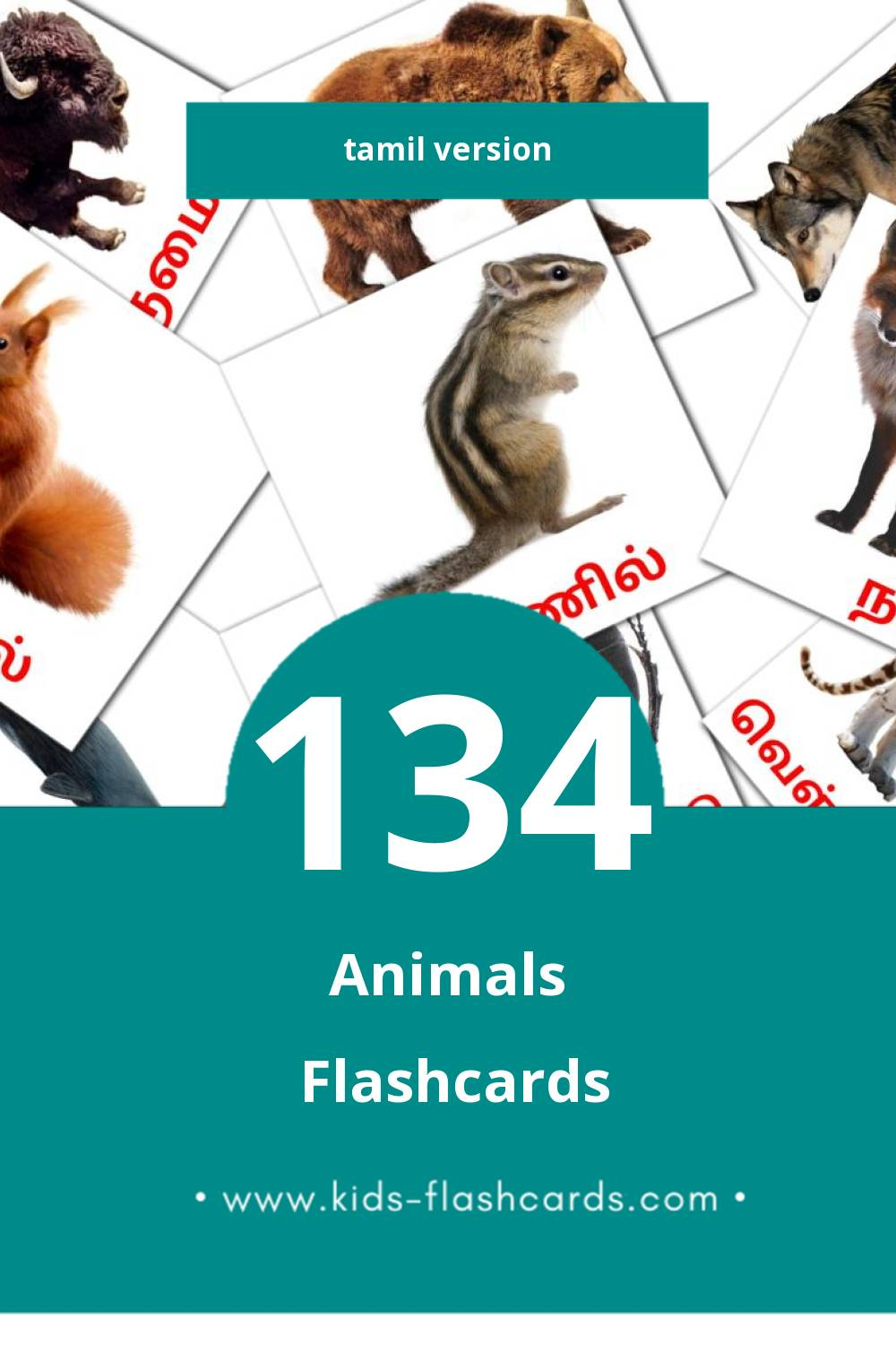 Visual விலங்குகள் Flashcards for Toddlers (77 cards in Tamil)