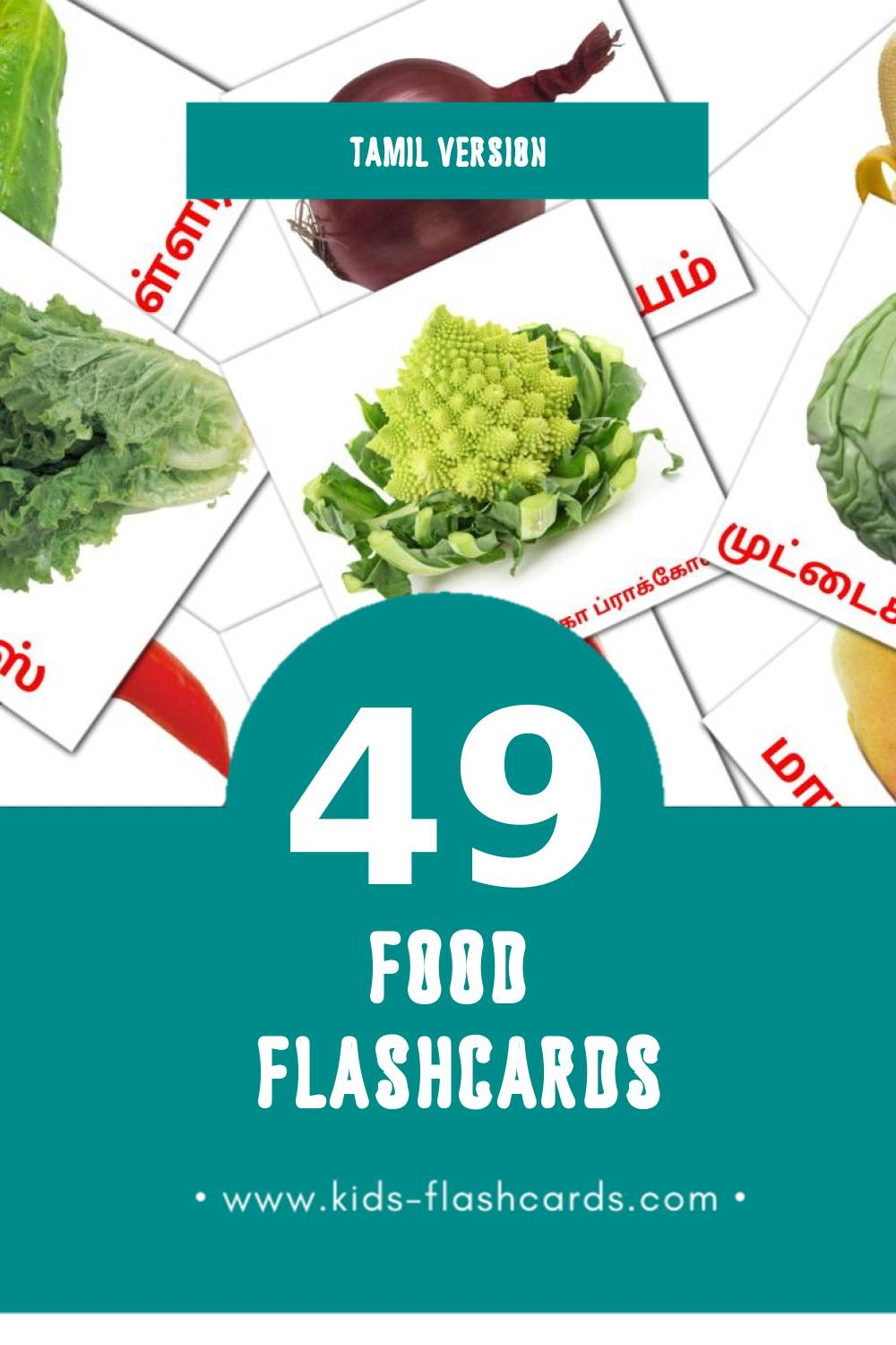 Visual பழங்கள் Flashcards for Toddlers (60 cards in Tamil)