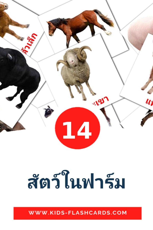 14 สัตว์ในฟาร์ม Picture Cards for Kindergarden in thai