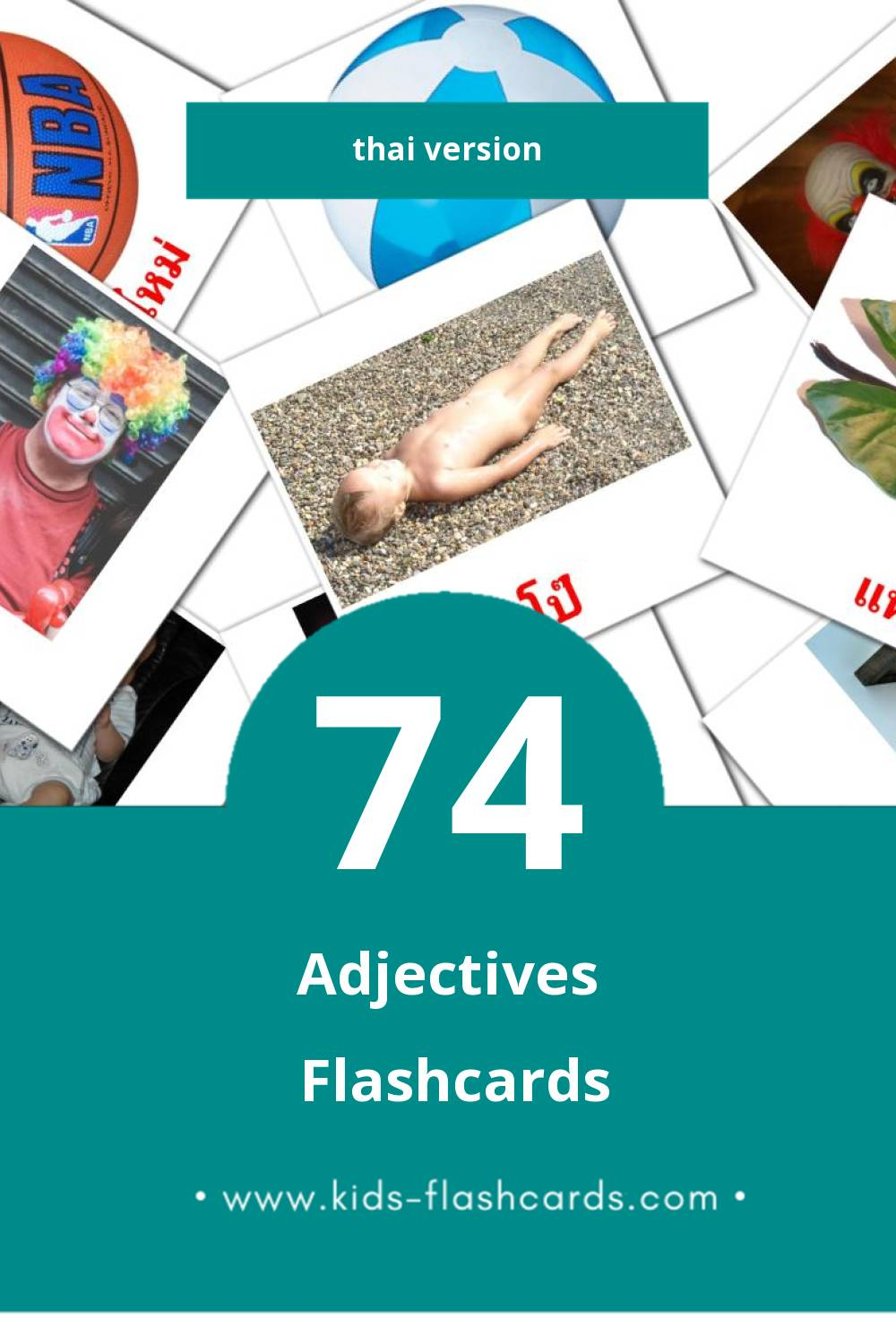 Visual คุณศัพท์ Flashcards for Toddlers (74 cards in Thai)
