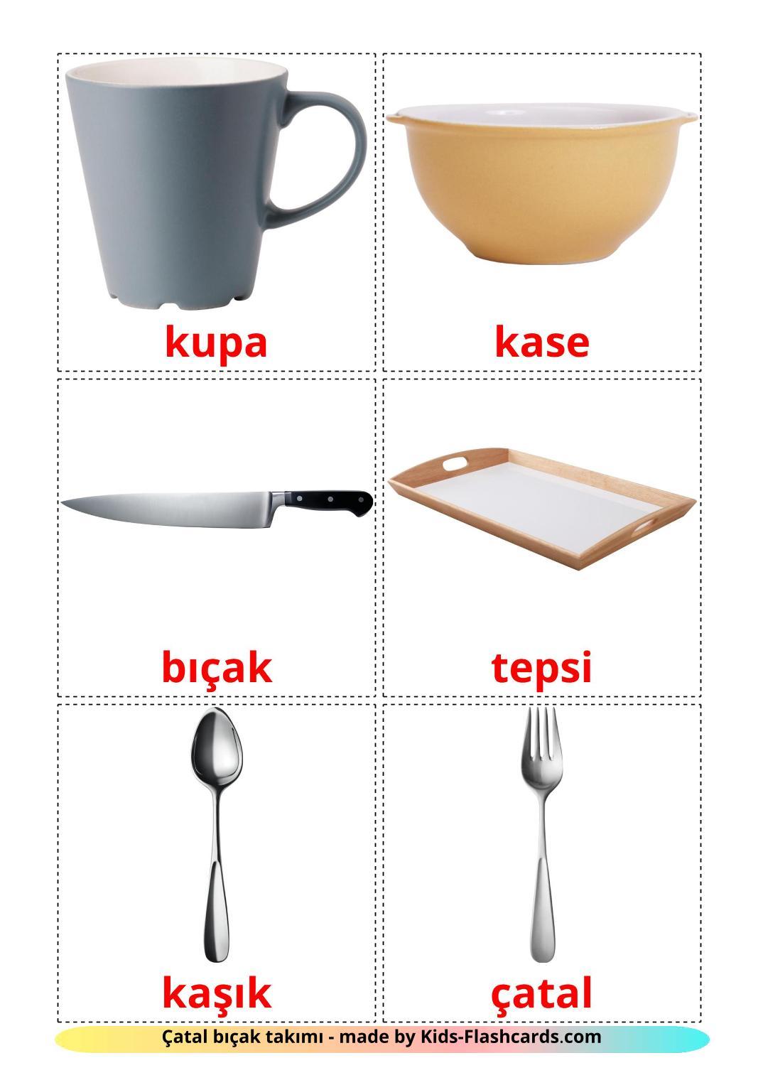 Crockery and cutlery - {2} Free Printable turkish Flashcards