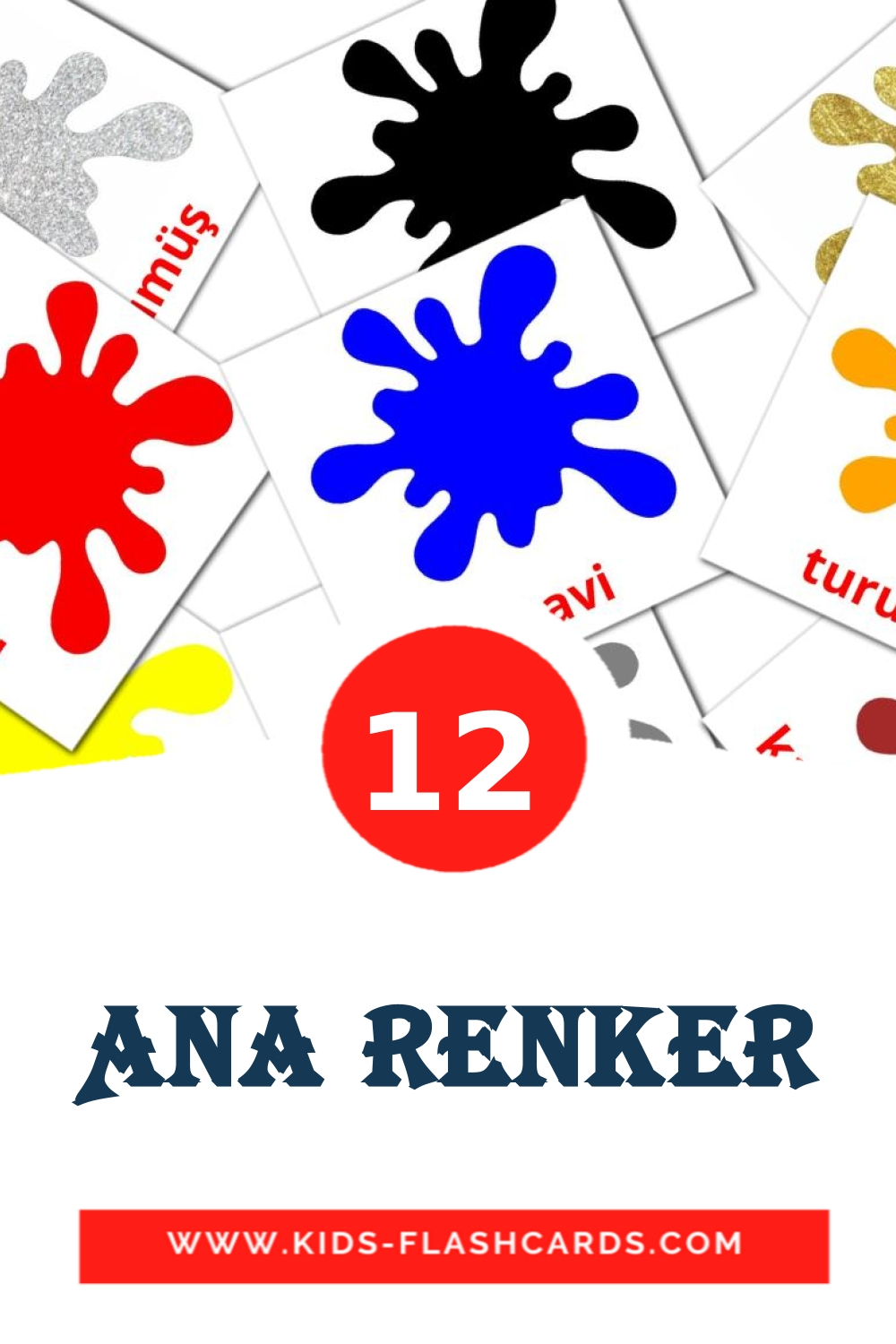 12 Ana renker Picture Cards for Kindergarden in turkish
