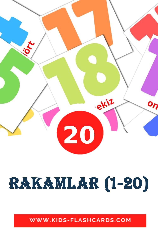 20 Rakamlar (1-20) Picture Cards for Kindergarden in turkish