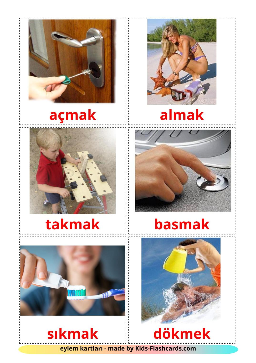 Action verbs picture cards for Kindergarden in turkish