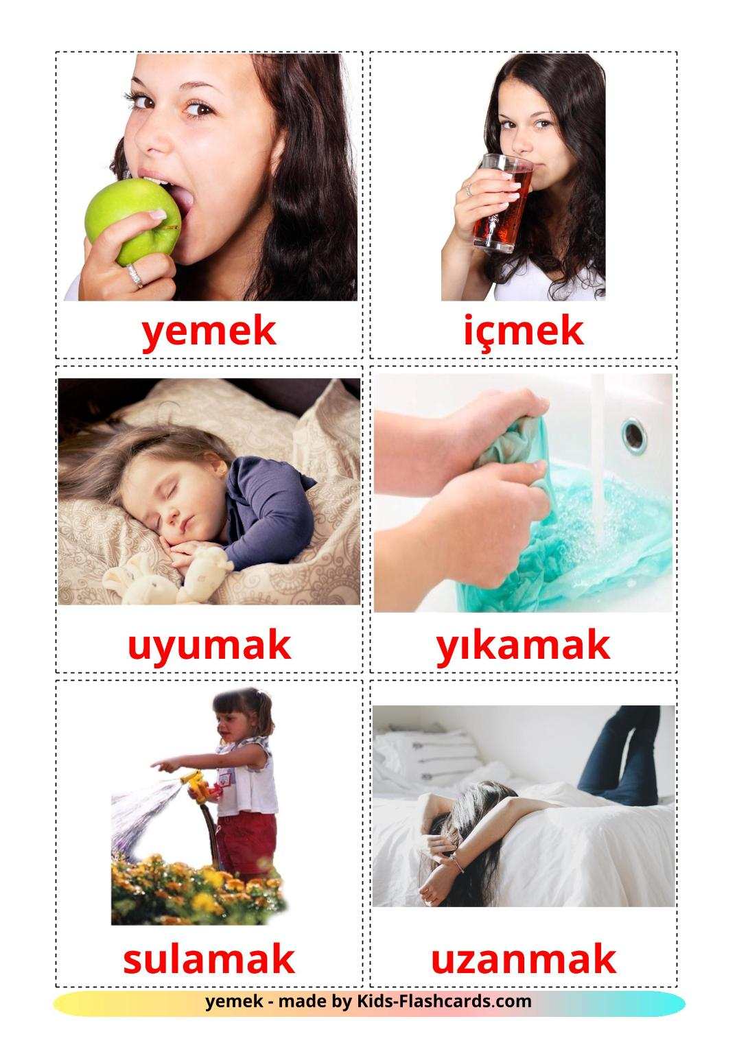 Routine verbs - 33 Free Printable turkish Flashcards