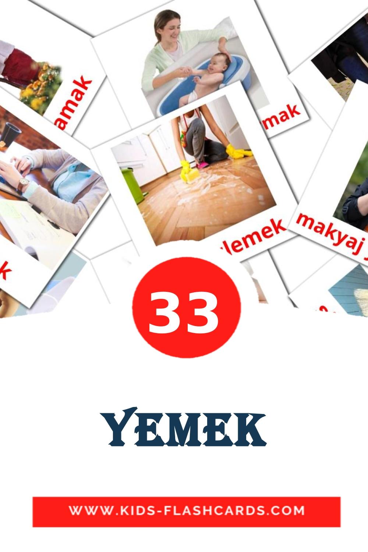 33 yemek Picture Cards for Kindergarden in turkish