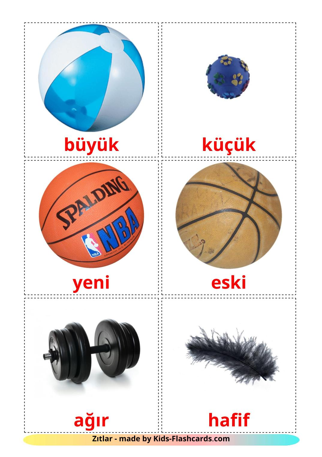 Opposites - 74 Free Printable turkish Flashcards