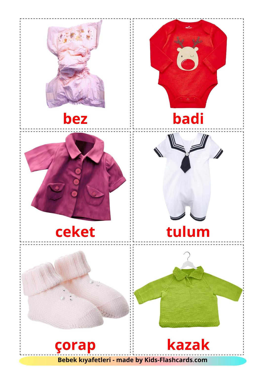 Baby clothes - 12 Free Printable turkish Flashcards