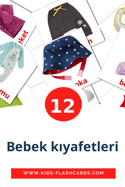 12 Bebek kıyafetleri Picture Cards for Kindergarden in turkish