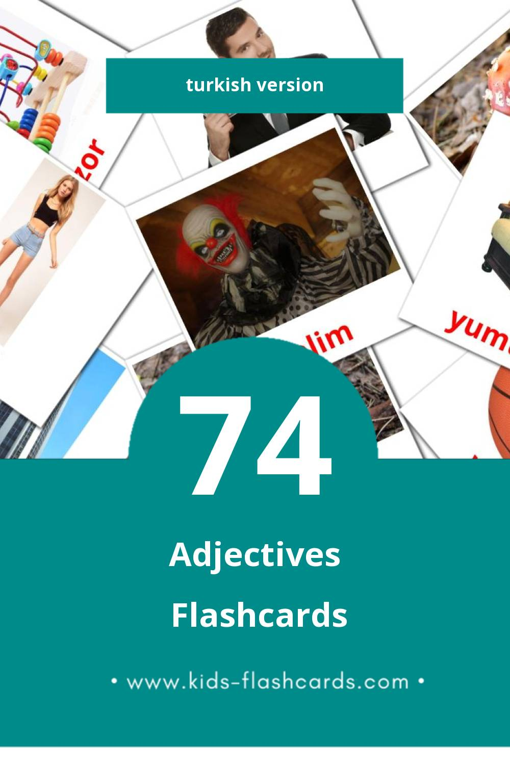 Visual Sifatlar Flashcards for Toddlers (74 cards in Turkish)