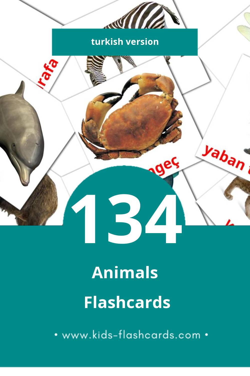 Visual Hayvanlar Flashcards for Toddlers (134 cards in Turkish)