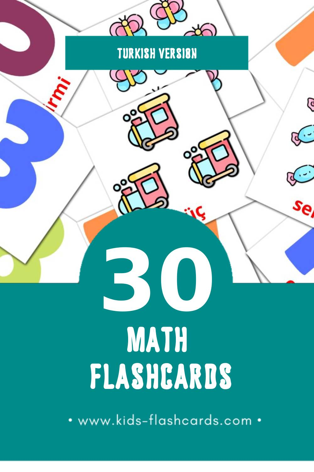 Visual математике Flashcards for Toddlers (30 cards in Turkish)