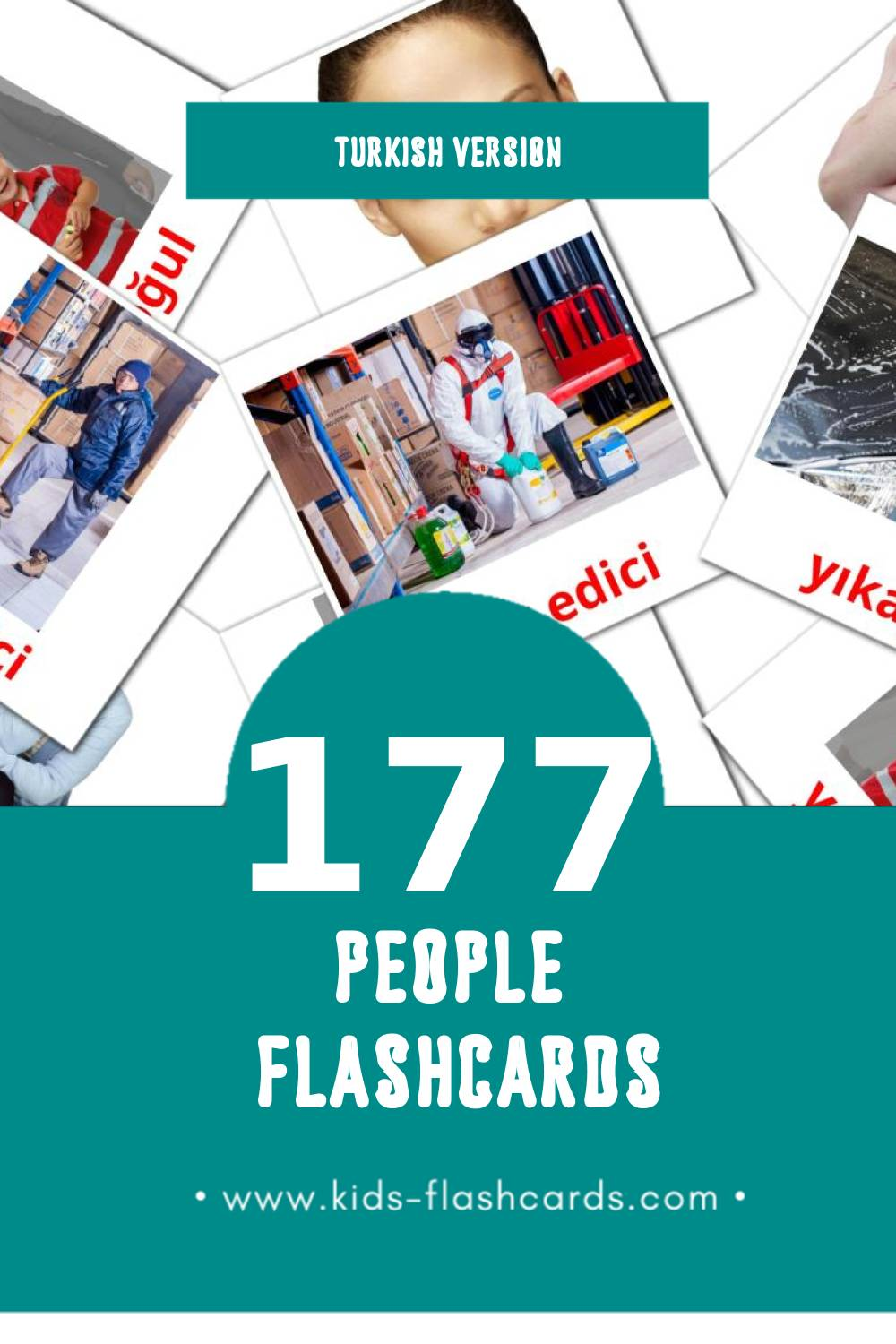 Visual İnsan Flashcards for Toddlers (58 cards in Turkish)