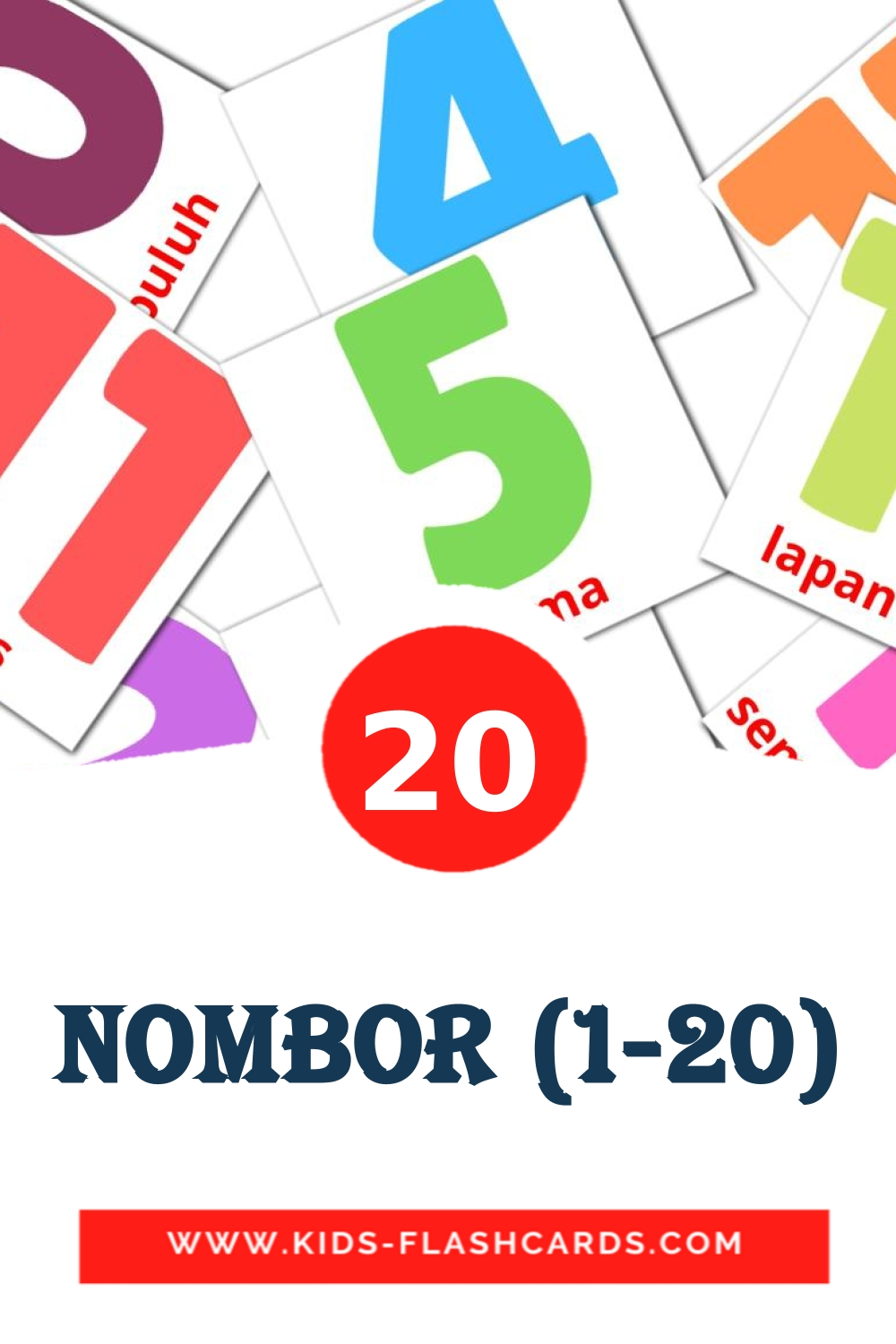 20 Nombor (1-20) Picture Cards for Kindergarden in malay