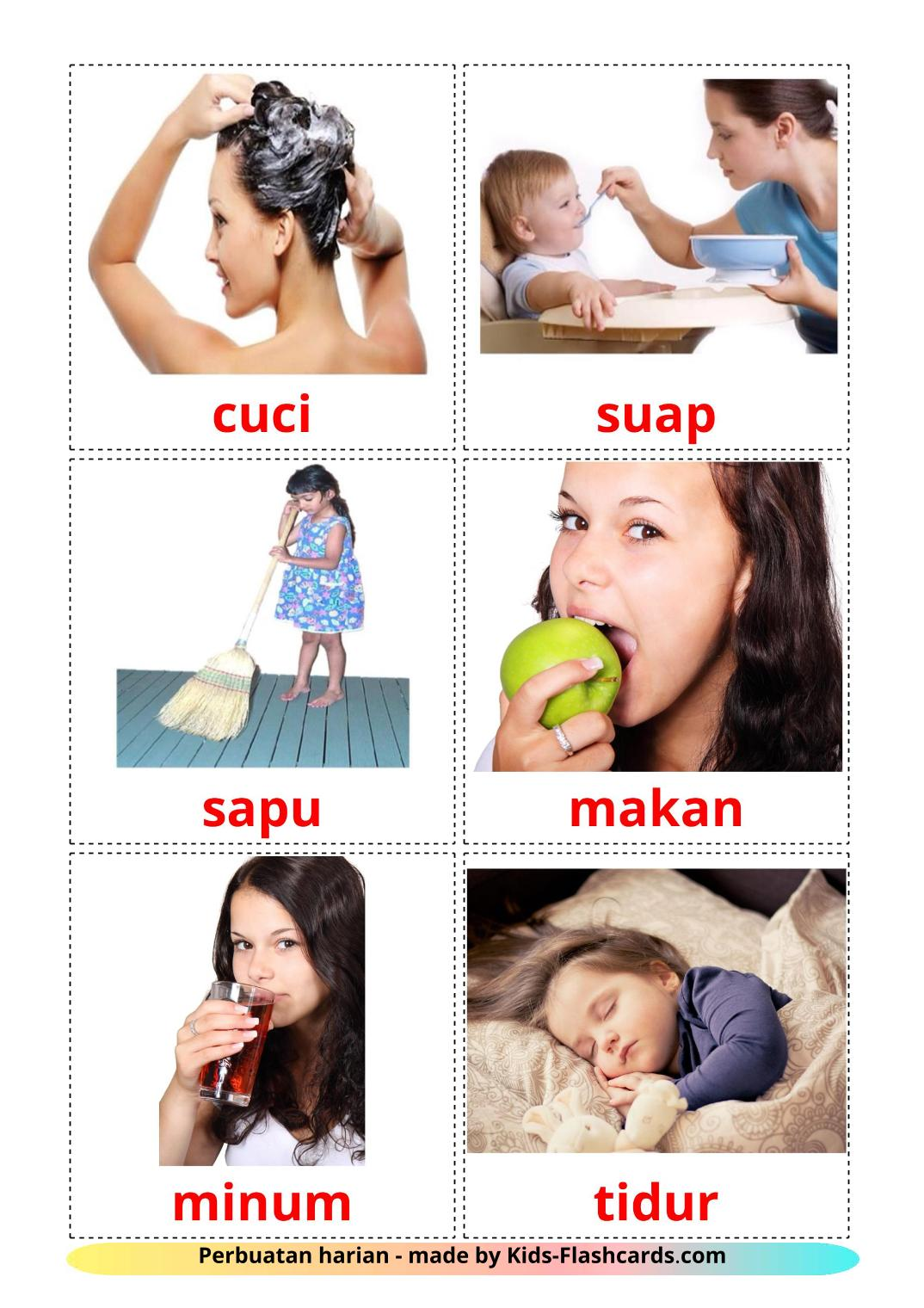 Routine verbs - 33 Free Printable malay Flashcards