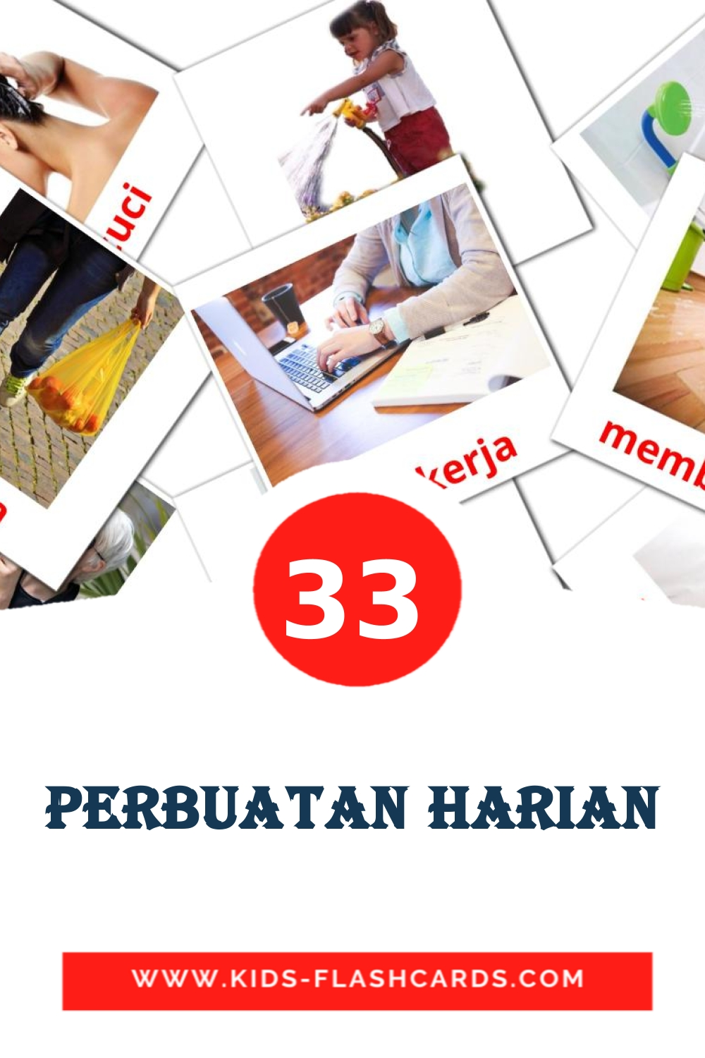 33 Perbuatan harian Picture Cards for Kindergarden in malay