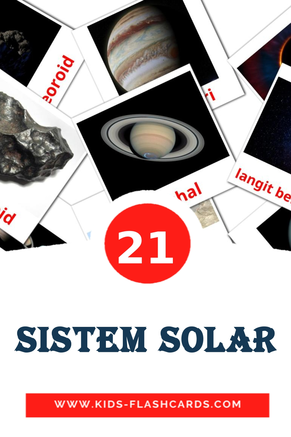 20 Sistem solar Picture Cards for Kindergarden in malay