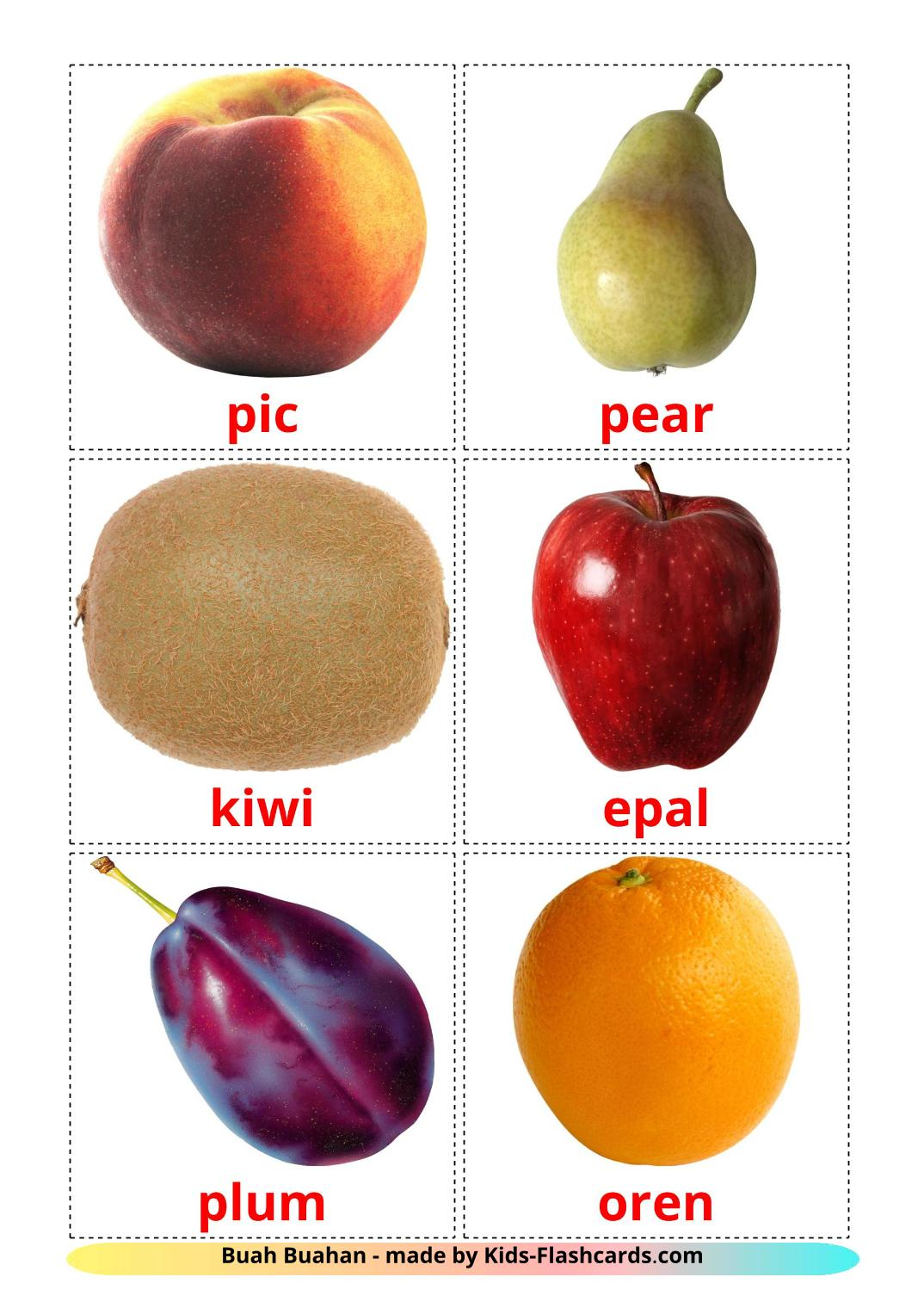 Fruits - 20 Free Printable malay Flashcards