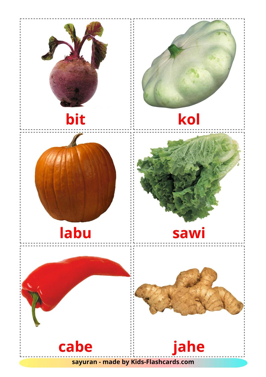Vegetables - 29 Free Printable malay Flashcards