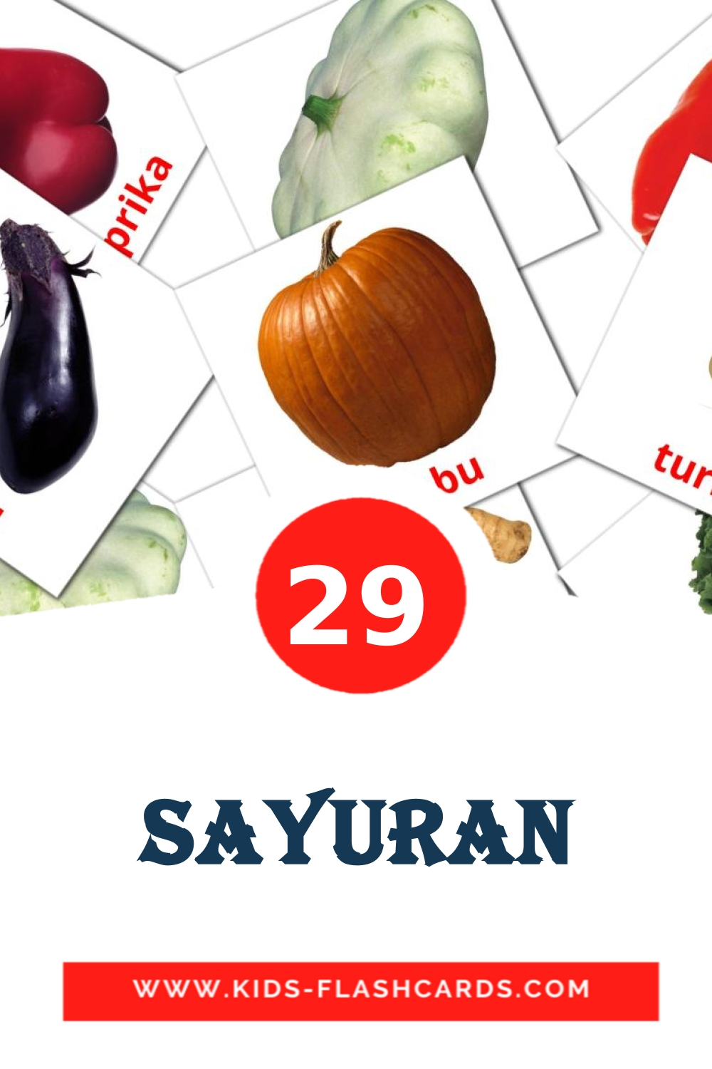 29 sayuran Picture Cards for Kindergarden in malay