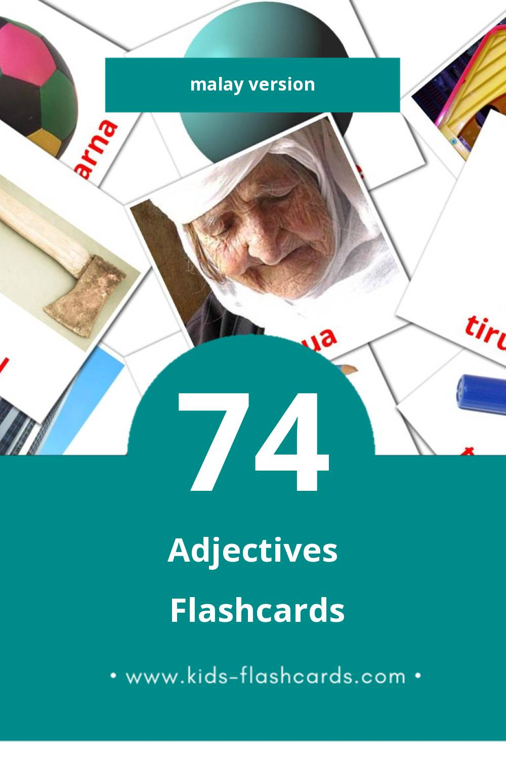 Visual ADJEKTIF Flashcards for Toddlers (74 cards in Malay)