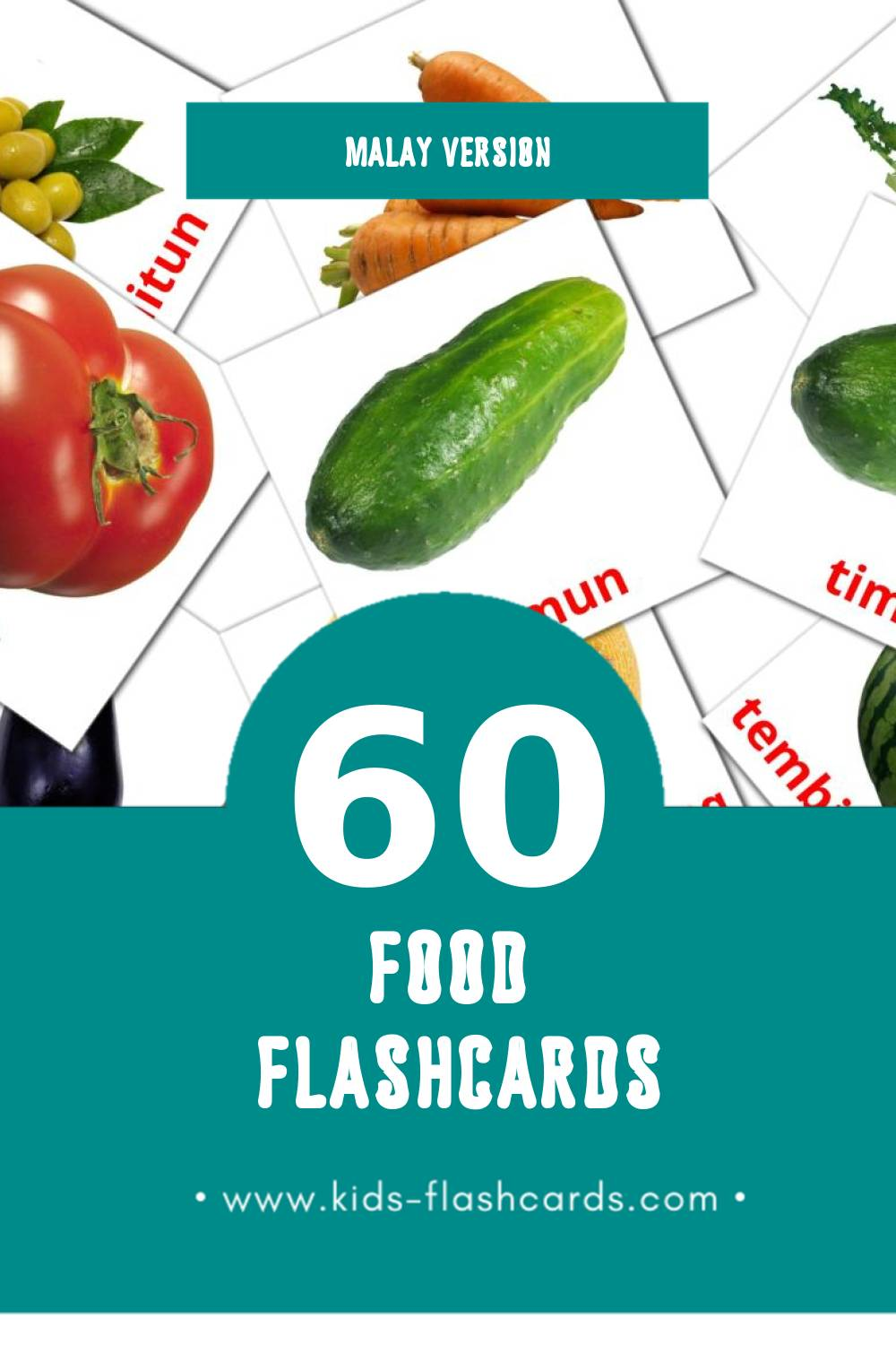 Visual Makanan Flashcards for Toddlers (60 cards in Malay)