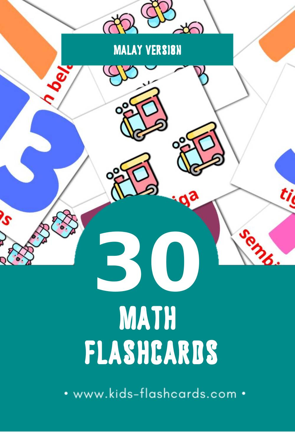 Visual Matematik Flashcards for Toddlers (30 cards in Malay)