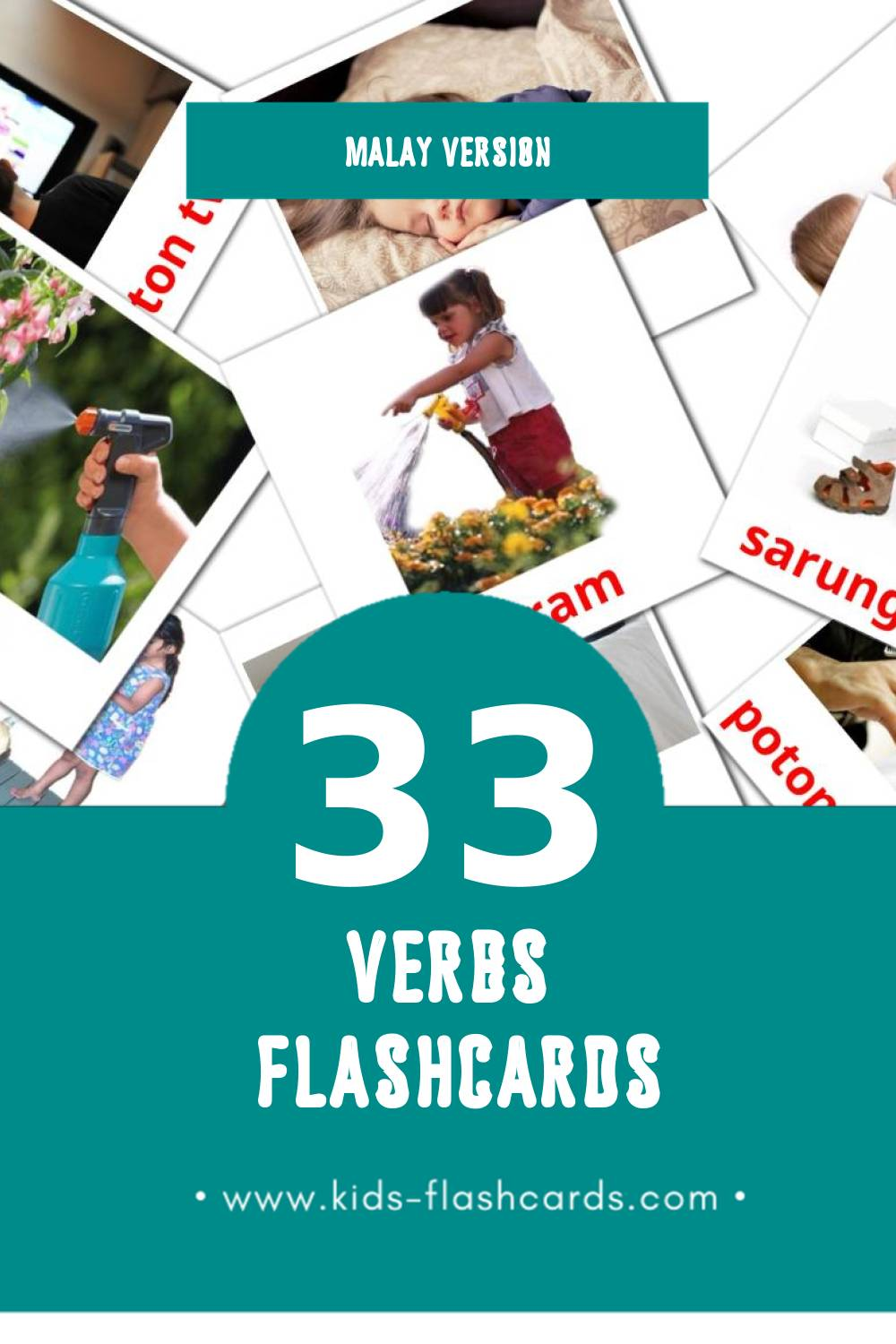 Visual PERBUATAN Flashcards for Toddlers (33 cards in Malay)
