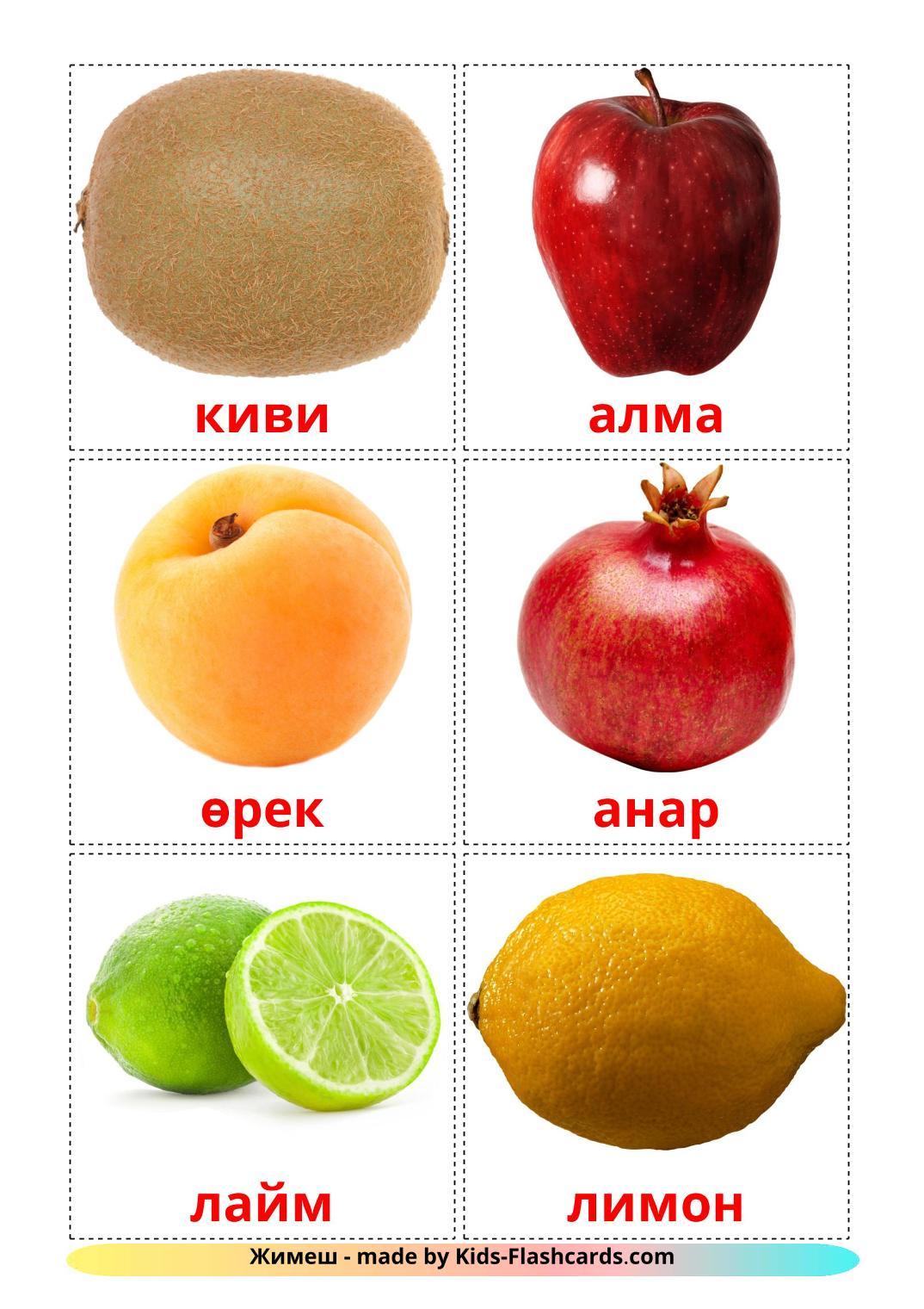 Fruits - 20 Free Printable tatar Flashcards