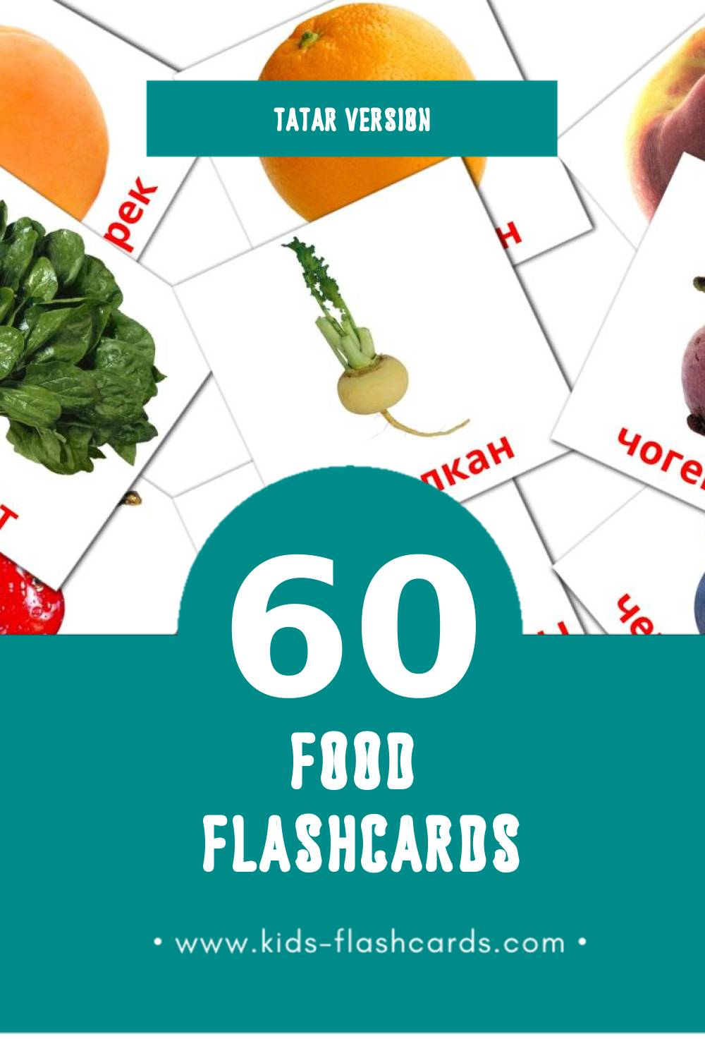 Visual Азык Flashcards for Toddlers (60 cards in Tatar)