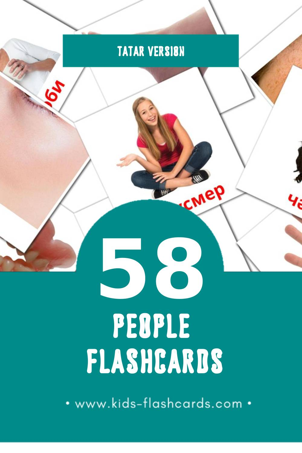 Visual Кеше Flashcards for Toddlers (58 cards in Tatar)