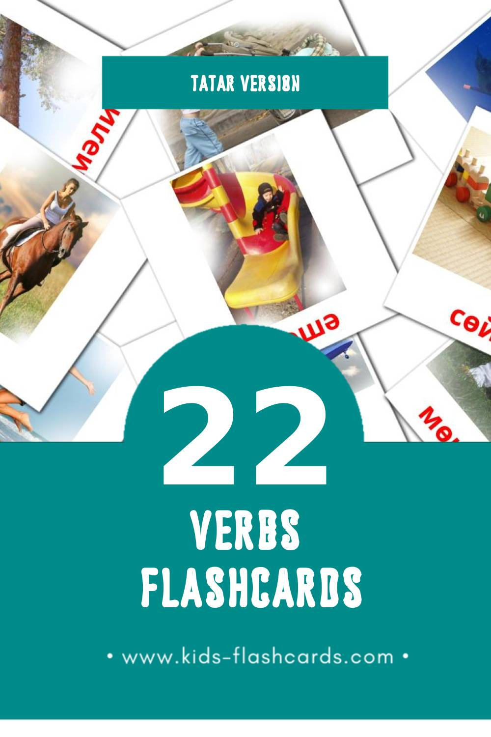 Visual Фигыльләр Flashcards for Toddlers (22 cards in Tatar)