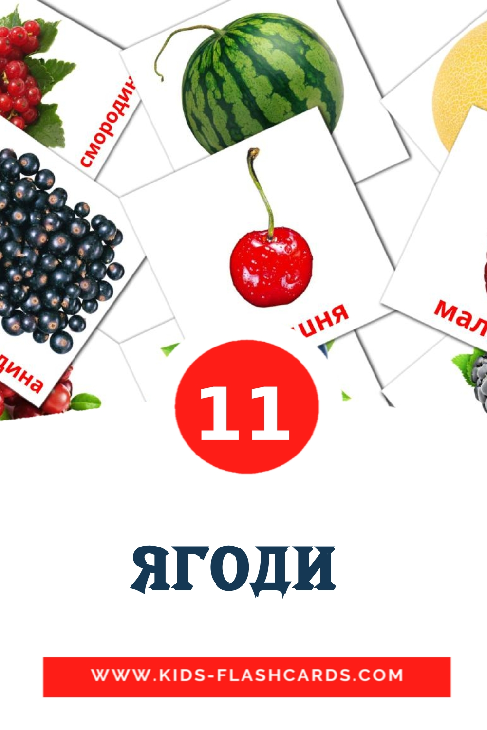 11 Ягоди  Picture Cards for Kindergarden in ukrainian
