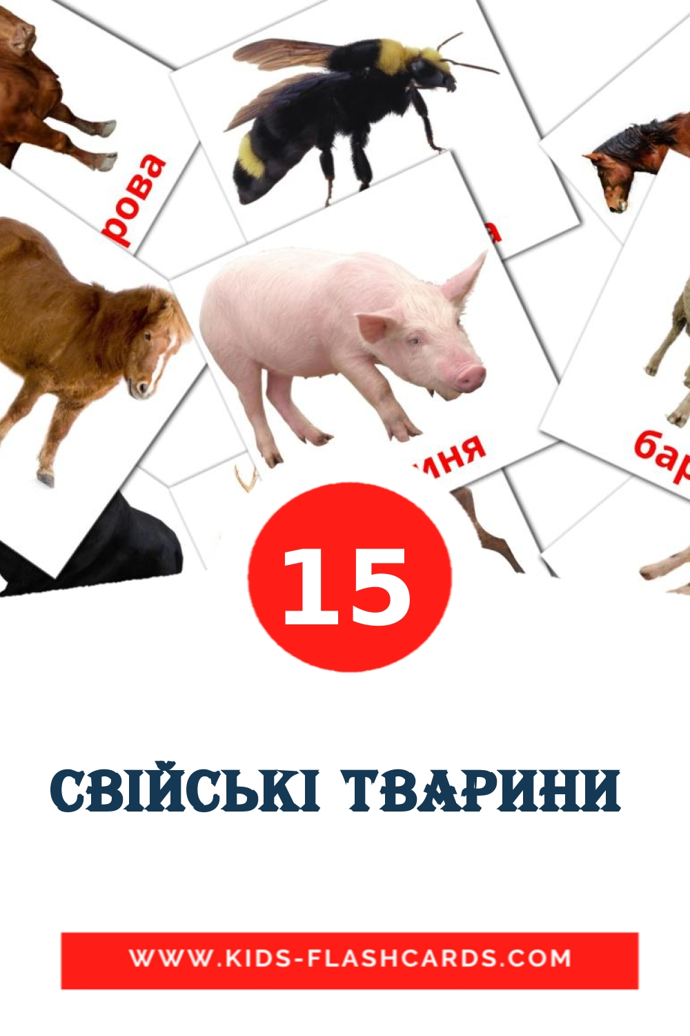 15 Свiйськi тварини  Picture Cards for Kindergarden in ukrainian