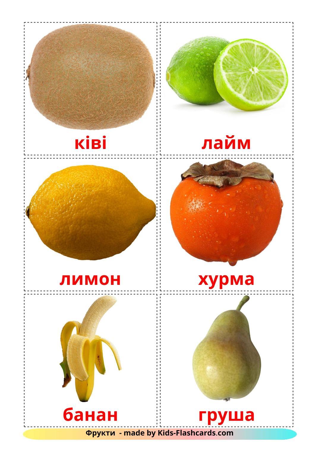 Fruits - 20 Free Printable ukrainian Flashcards