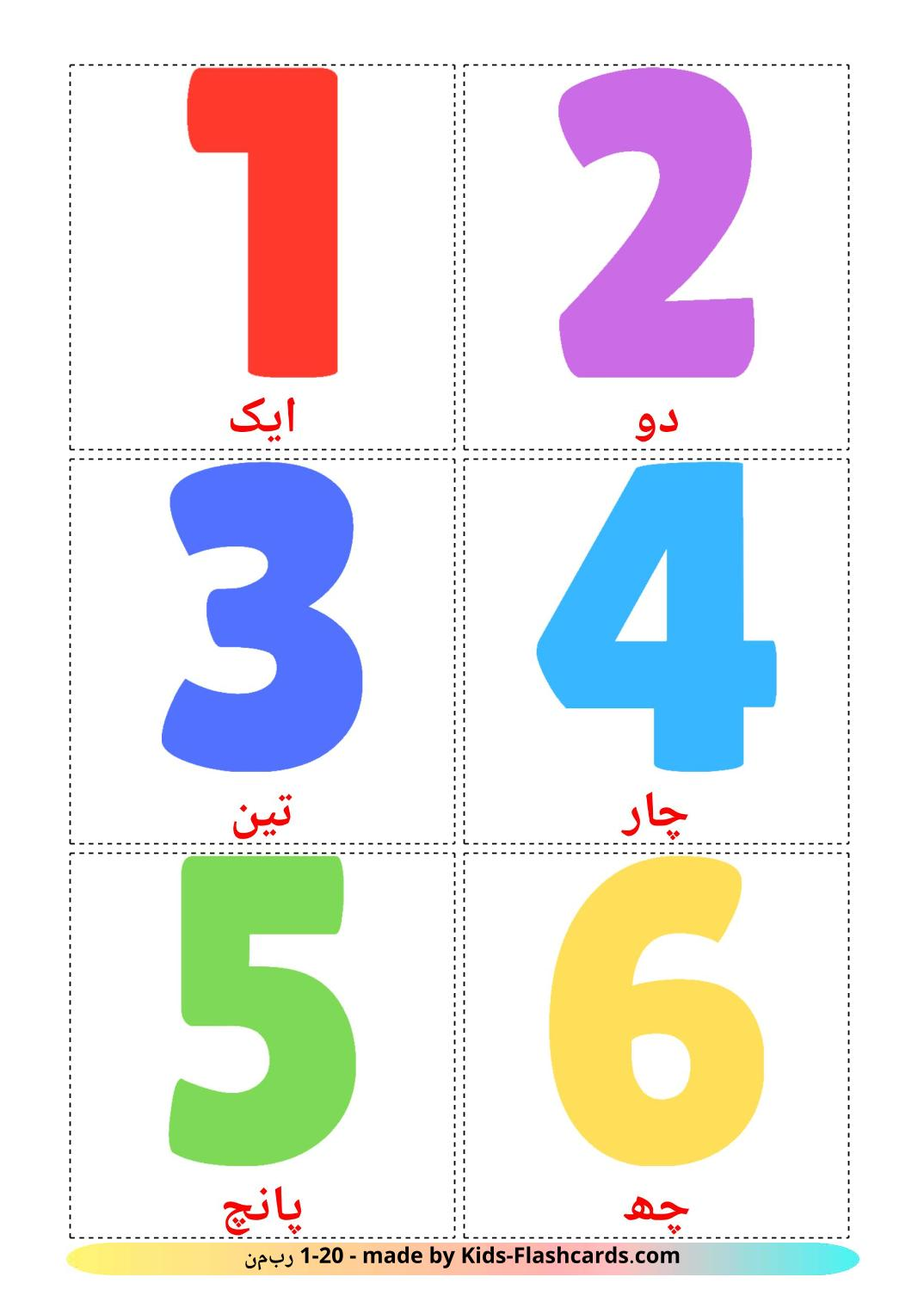 Numbers (1-20) - 20 Free Printable urdu Flashcards