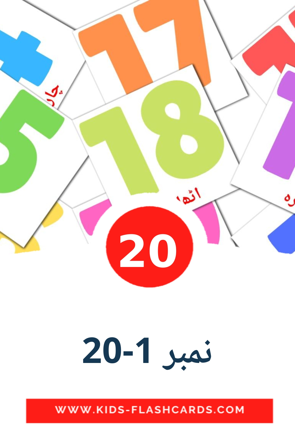 20 نمبر 1-20 Picture Cards for Kindergarden in urdu