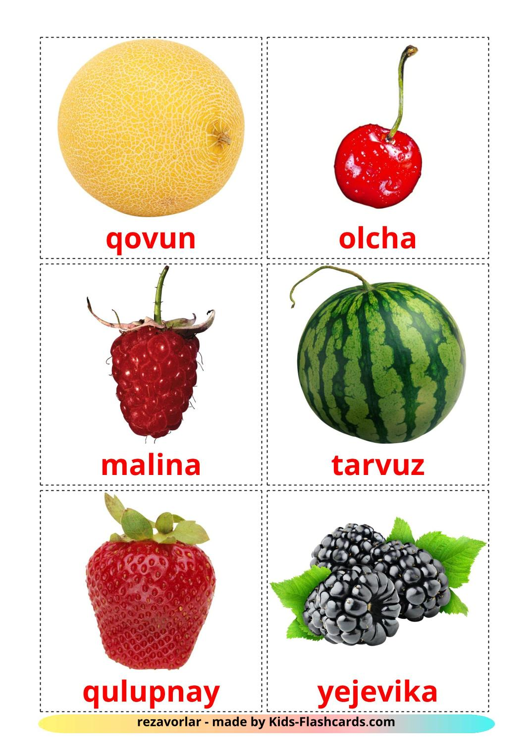 Berries - 11 Free Printable uzbek Flashcards
