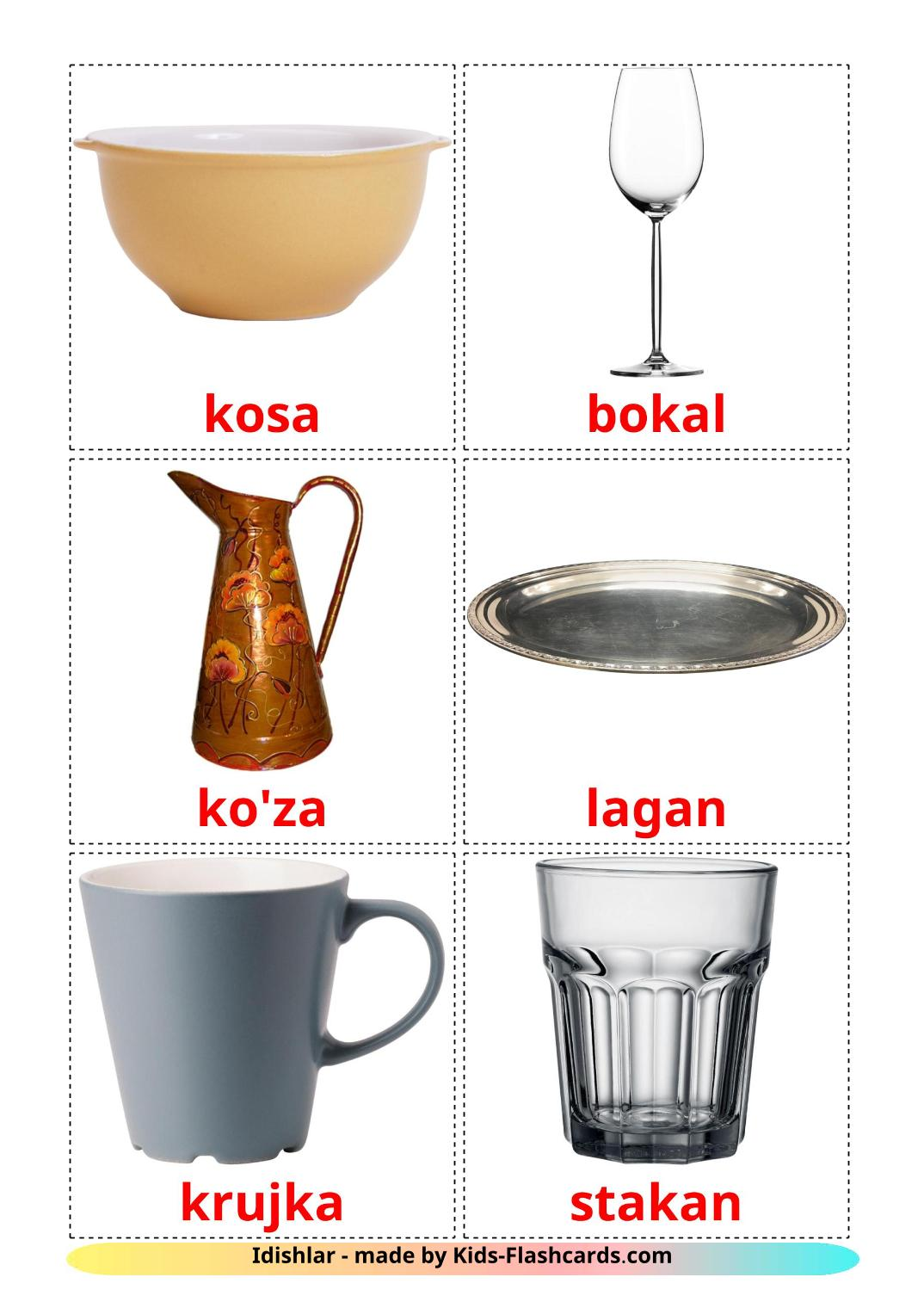 Crockery and cutlery - 29 Free Printable uzbek Flashcards