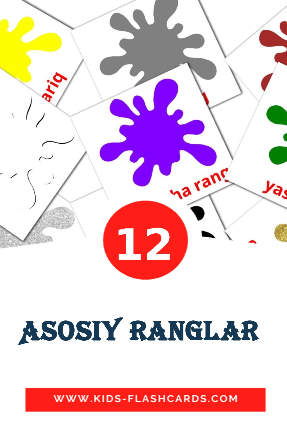12 Asosiy ranglar  Picture Cards for Kindergarden in uzbek